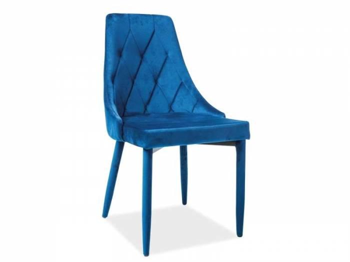 Scaun dining din catifea albastră Trix