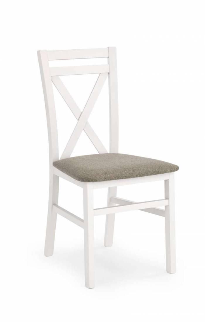 Scaun dining Trier 45x43x93 cm, textil/lemn, alb/bej