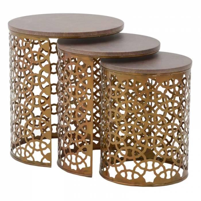 Set trei măsuțe cafea Elva, maro/cupru, metal/lemn