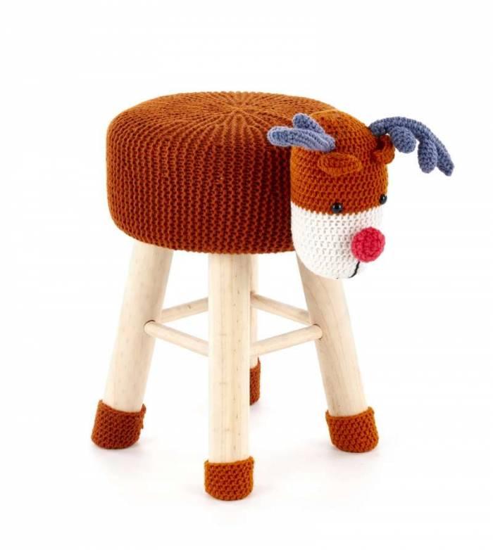 Taburet portocaliu Reindeer