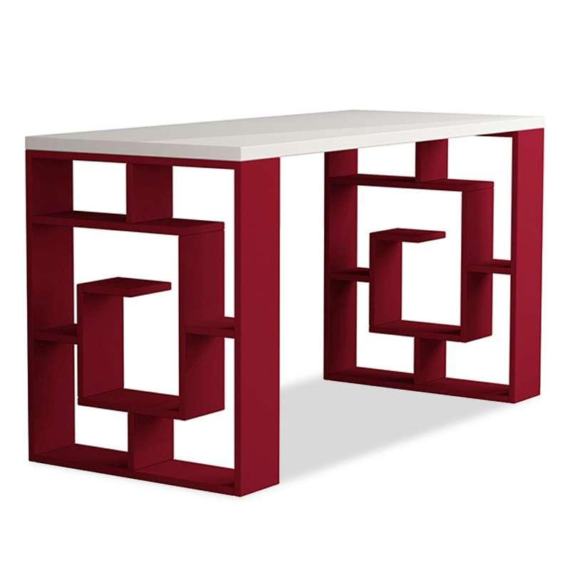 Birou Darmon alb/roșu, pal, 140x75x60 poza