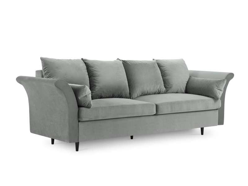 Canapea extensibilă cu spațiu de depozitare Lola, 3 locuri, gri deschis, 245x95x98 cm poza