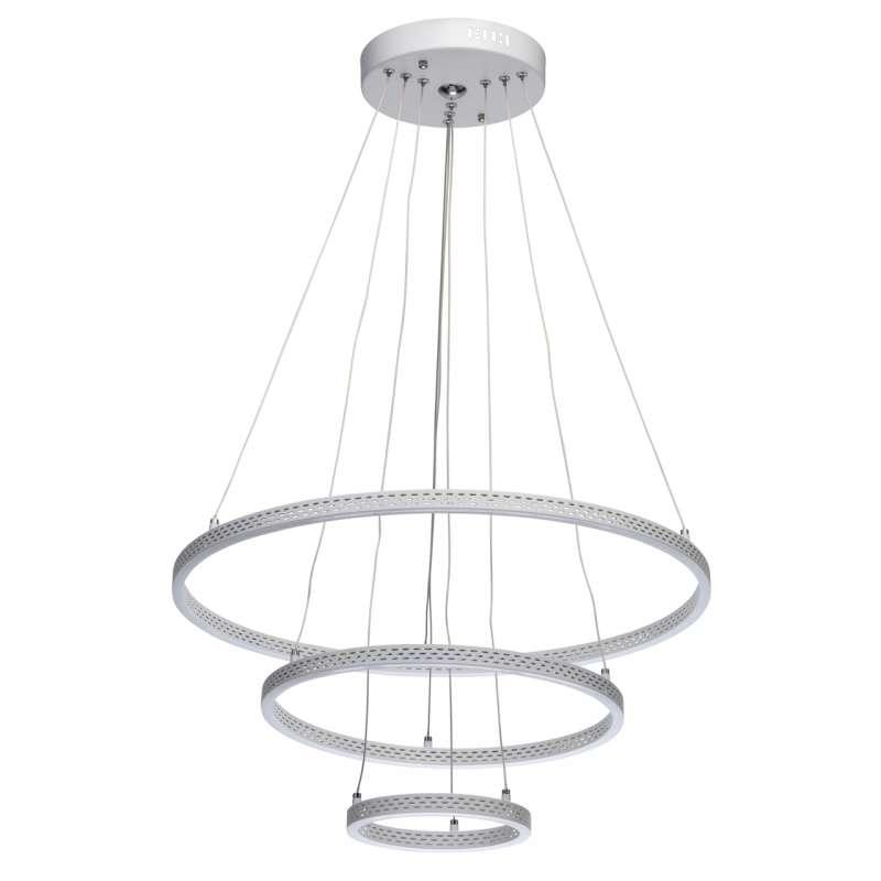 Lustră cu cercuri Birgit, 110x60 cm, metal/ aluminiu/ silicon, alb poza