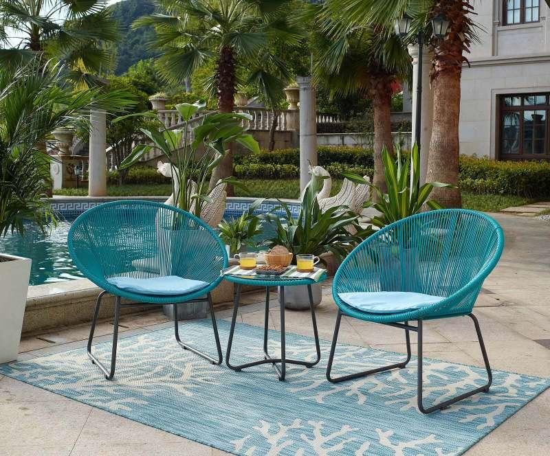 Set Mobilier Pentru Grădină Din Plastic Leona Plastic Metal Albastru Maro