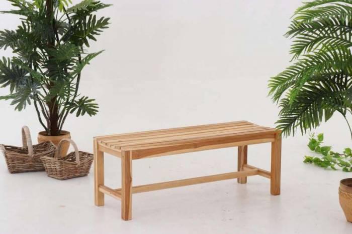 Bancă fără spătar pentru gradină Mitchell, 45x120x42 cm, lemn, bej