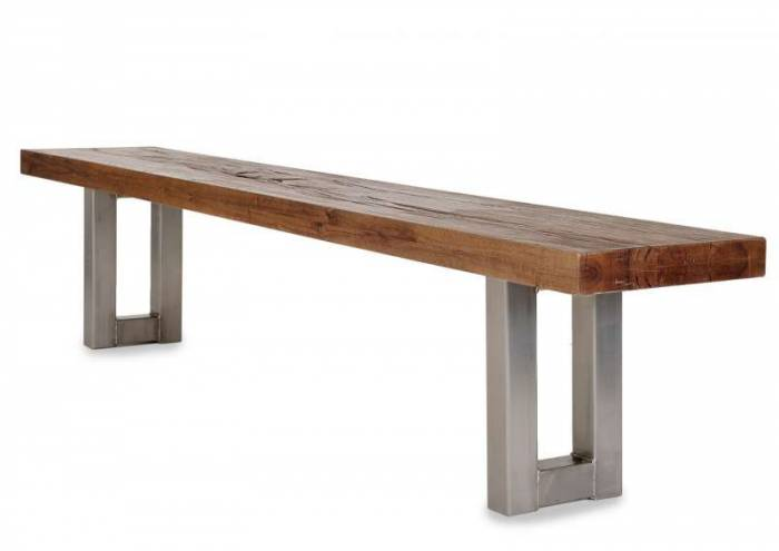 Banchetă Manhattan, 45x35x220 cm, otel/lemn, argintiu/amro