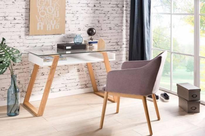 Birou stil scandinav Kendal 110x55x75 cm, lemn de stejar, alb