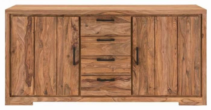 Bufet din lemn masiv Bihar, 85x45x176 cm, sheesham, maro