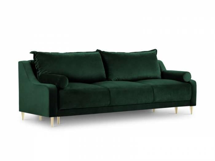 Canapea extensibilă cu spațiu de depozitare Lea, 3 locuri, verde, 215x94x90 cm