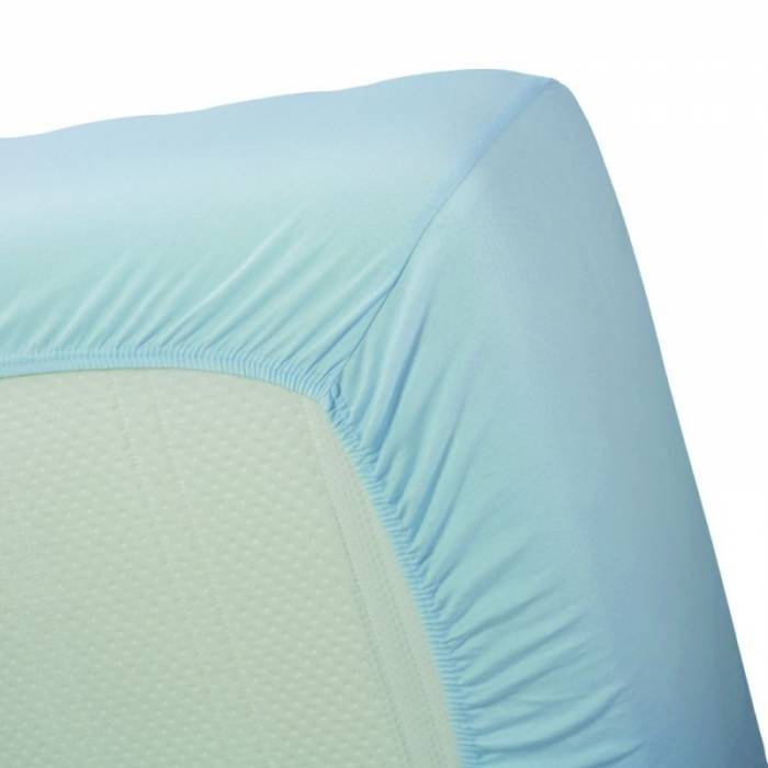 Cearceaf albastru cu elastic din bumbac 80x200 cm Jersey Light Blue