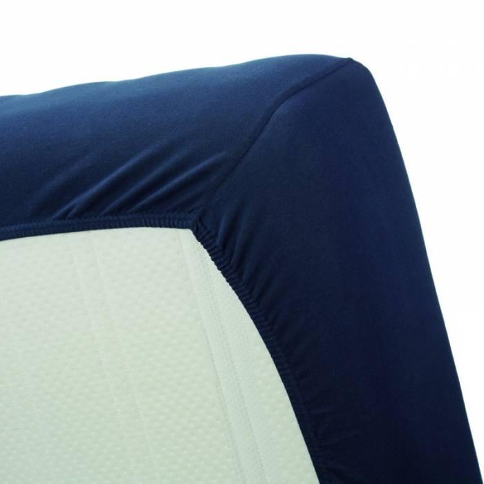 Cearceaf albastru închis de pat cu elastic 160x200 cm Jersey Navy