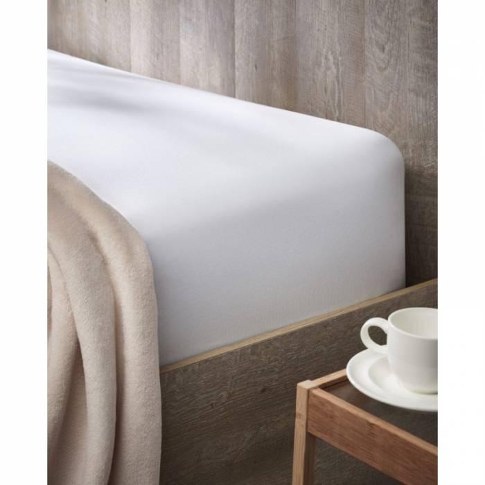 Cearceaf de pat alb cu elastic 180x200 cm Jersey Relax
