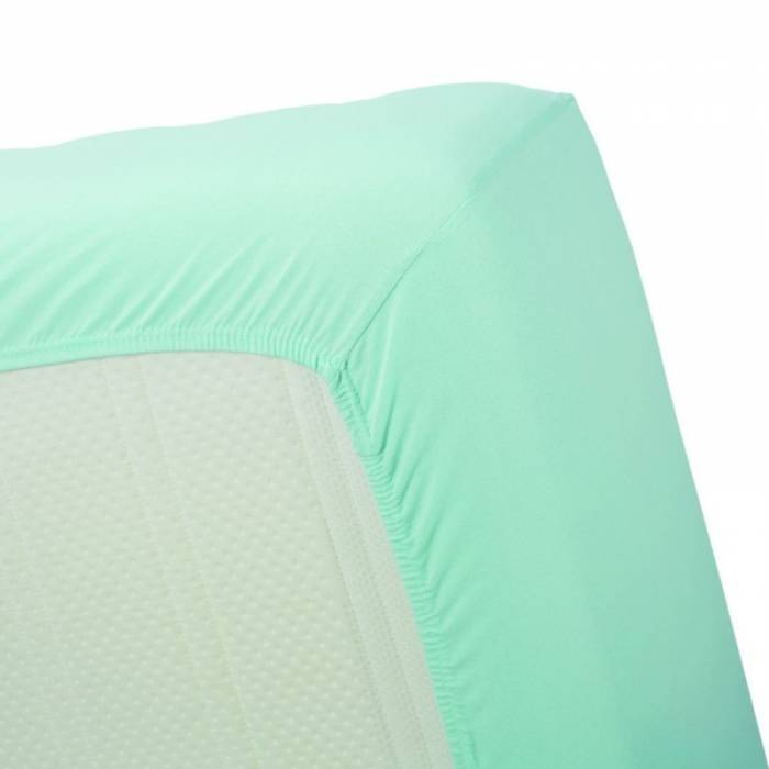 Cearceaf de pat turcoaz deschis 160x200 cm Jersey Mint Green