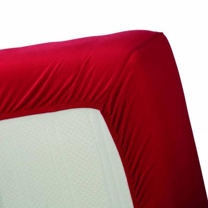 Cearceaf roșu de pat bumbac 160x200 cm Jersey Red