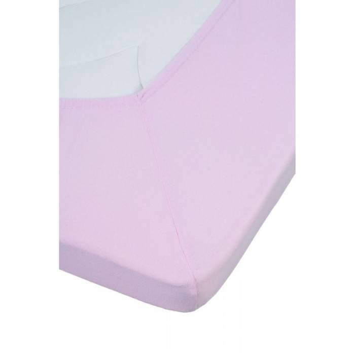 Cearceaf roz de pat cu elastic 80x200 cm Jersey Soft Pink