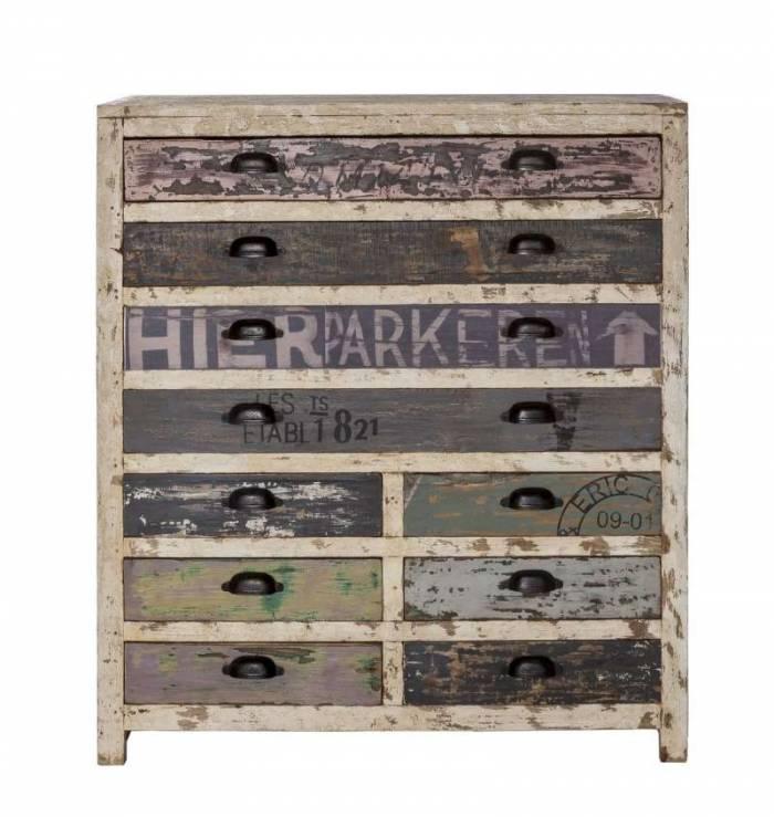 Comodă cu 10 sertare Librarium, 105x40x90 cm, lemn, multicolor