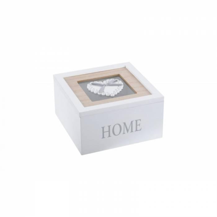 Cutie albă pentru bijuterii Home Charline 15x15x8 cm