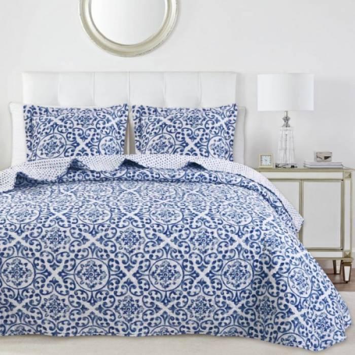 Cuvertură albastră de pat Idara 235x270 cm