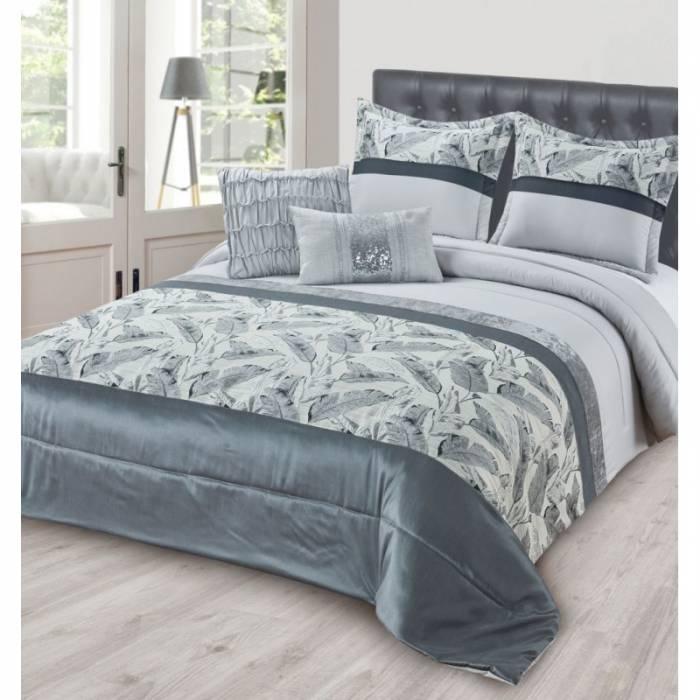 Cuvertură de pat gri Peacock 230x250 cm