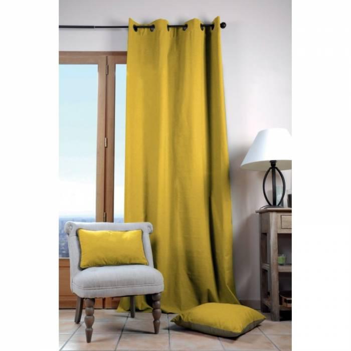 Draperie galbenă din bumbac Duo Uni Moutard 135X240 cm