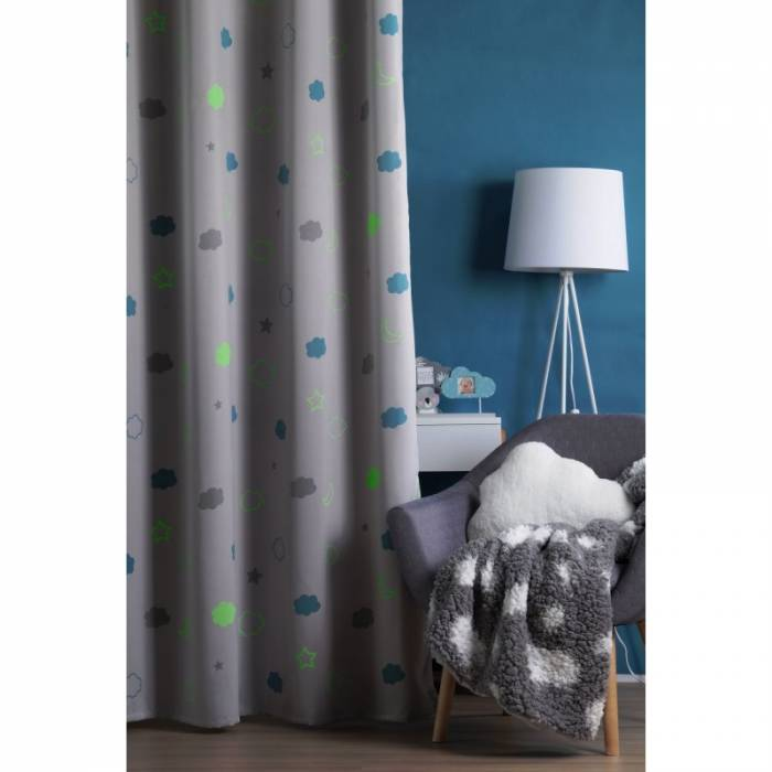 Draperie gri pentru copii Moon Gris 140x260 cm
