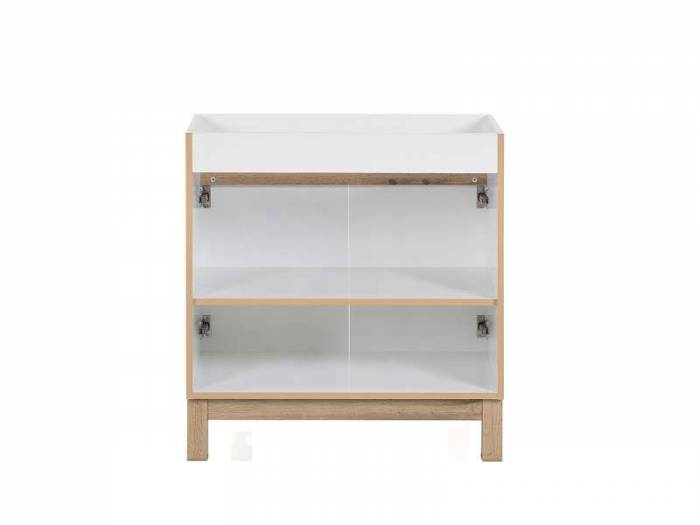 Dulap de baie pentru lavoar Bali White 84x80x45 cm, pal, alb/ maro