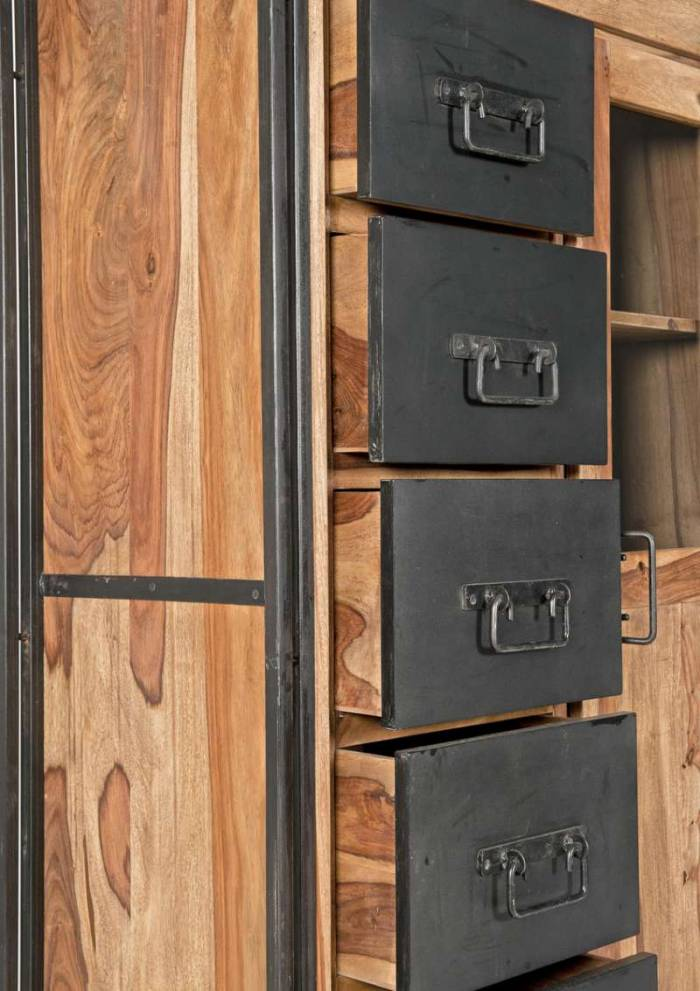 Dulap din sheesham Panama, 147x45x90 cm, sheesham/ metal, maro/negru