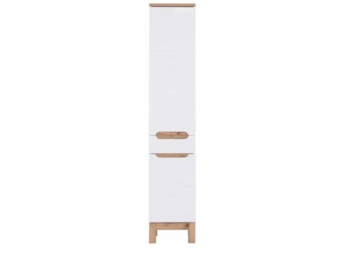 Dulap înalt cu 2 uși Bali White, 187x35x33 cm, pal, alb/ maro