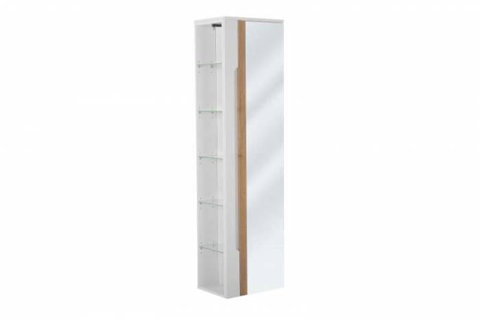 Dulap înalt pentru baie cu oglindă Galaxy White, 170x45x33 cm, pal/ sticlă, alb/ maro