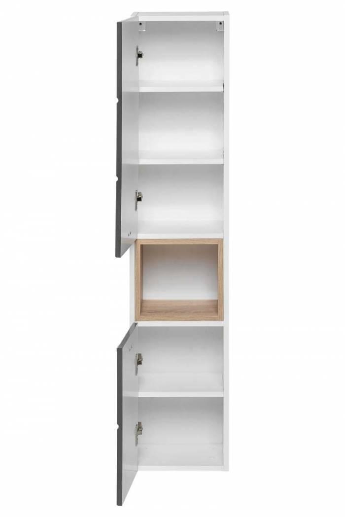 Dulap înalt pentru baie Finka Grey, 30x140x25 cm, pal, gri/ alb