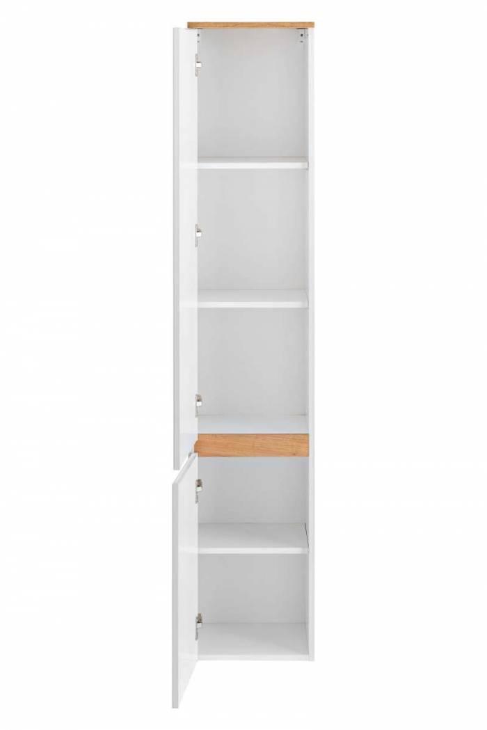 Dulap înalt suspendat Platinum, 35x176x30 cm, pal/ mdf, alb/ maro