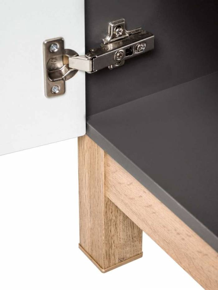Dulap inferior cu sertar și ușă Bali Grey, 86x35x33 cm, pal, gri/ maro