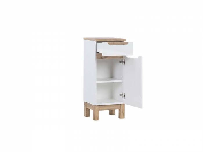 Dulap inferior cu sertar și ușă Bali White, 86x35x33 cm, pal, alb/ maro