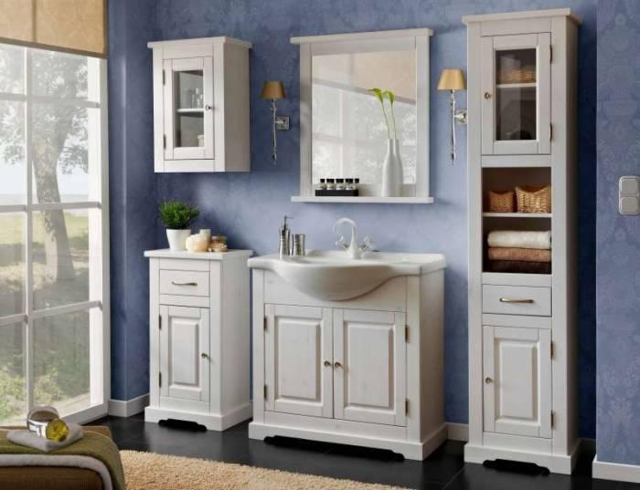 Dulap inferior cu ușă și sertar Romantic, 85x45x30 cm, lemn, alb