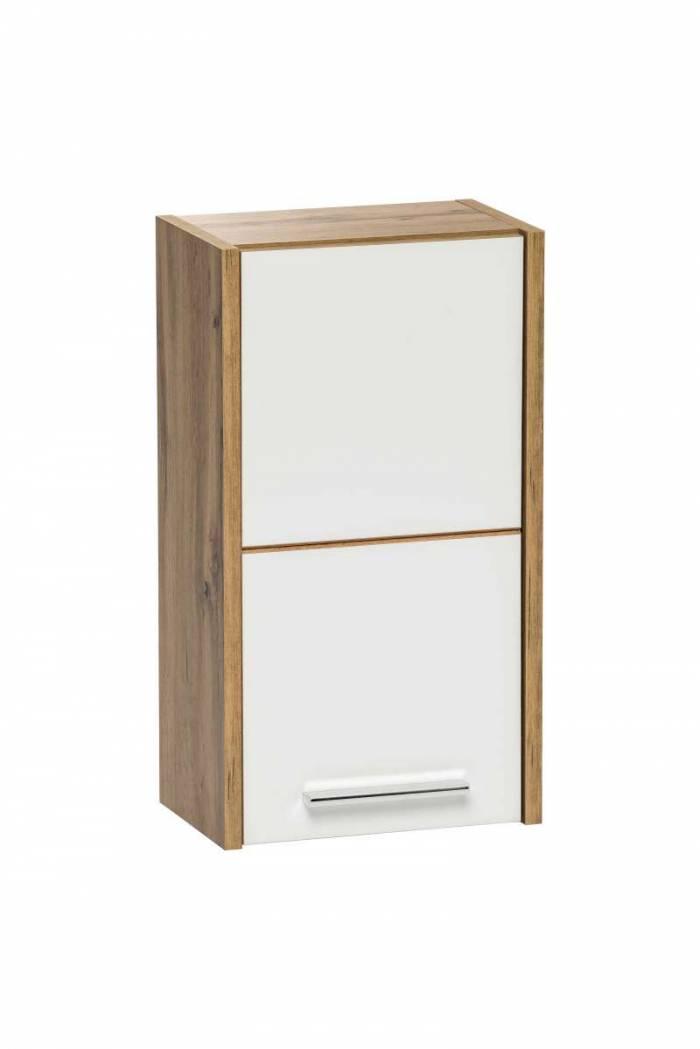 Dulap superior suspendat Ibiza White, 55x30x19 cm, pal/ plastic, maro/ alb