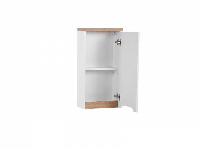 Dulap suspendat cu o ușă Bali White, 70x35x20 cm, pal, alb/ maro