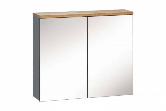 Dulap suspendat cu oglindă Bali Grey 70x60x20 cm, pal/ sticlă, gri/ maro