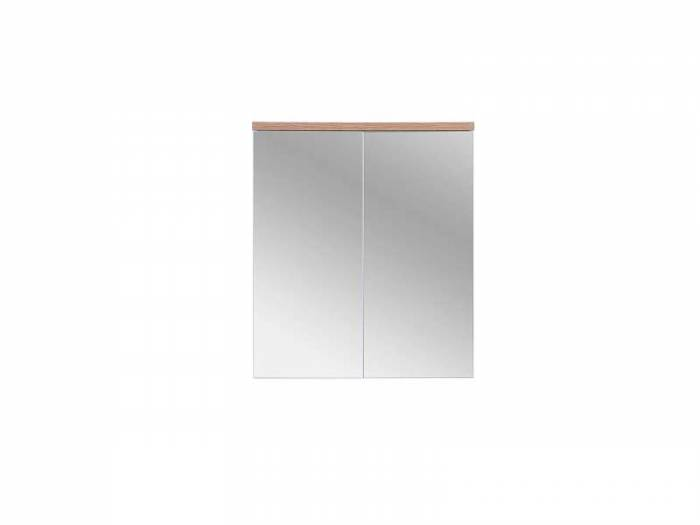 Dulap suspendat cu oglindă Bali White 70x60x20 cm, pal/ sticlă, alb/ maro