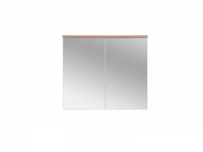 Dulap suspendat cu oglindă Bali White 70x80x20 cm, pal/ sticlă, alb/ maro