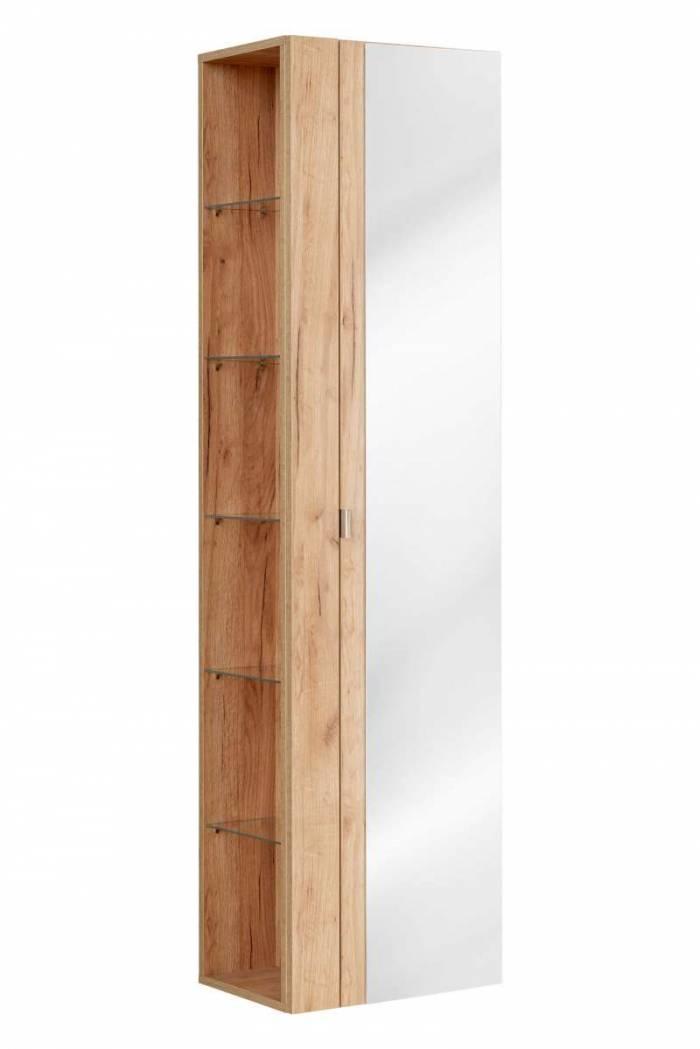 Dulap suspendat cu oglindă Capri Oak, 45x170x33 cm, pal, maro