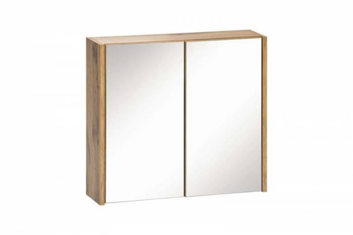 Dulap suspendat cu oglindă Ibiza White, 60x55x16 cm, pal/ sticlă, maro/ alb