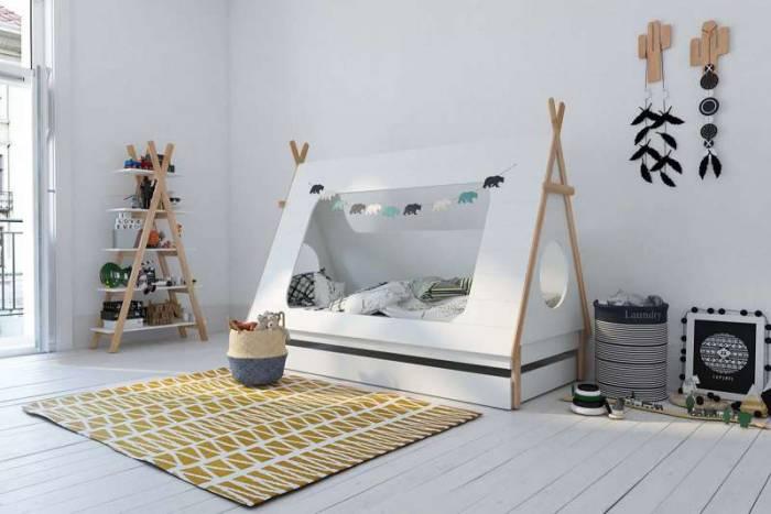 Etajeră în formă de cort Naomi, 170x90x35 cm, mdf/ pin, alb/ bej