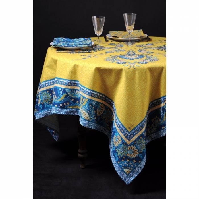 Față de masă pătrată galbenă Haveli Jaune 160x160 cm
