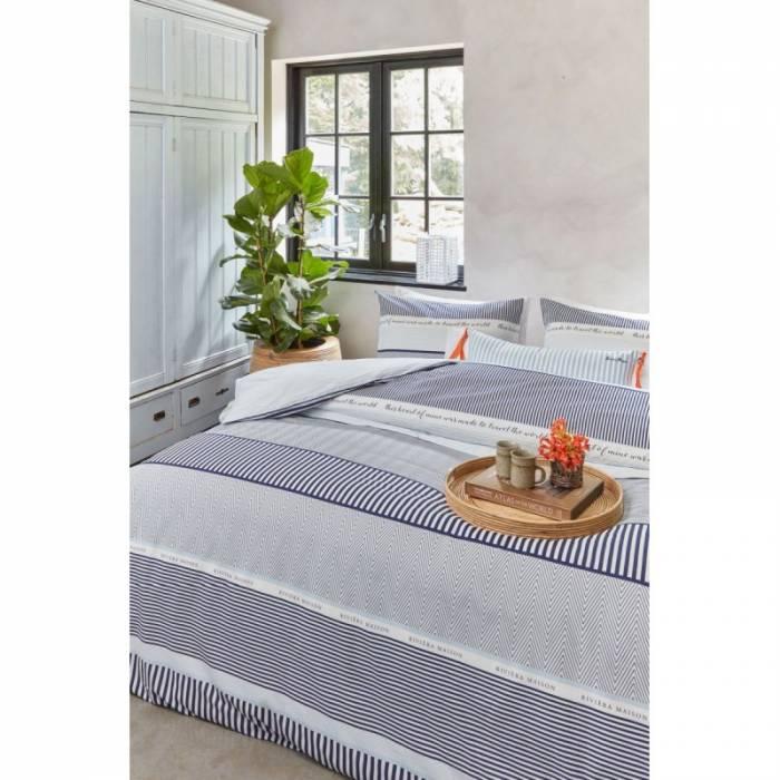 Lenjerie de pat albastră din bumbac State Travel Light Blue 200x200/220 cm