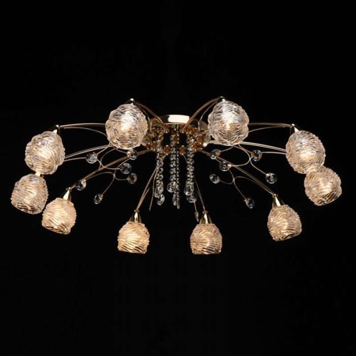 Lustră florală cu cristale Albertha, 25x93 cm, metal/ sticla, auriu