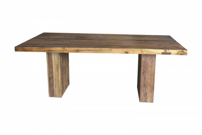 Masă de dining Frama, 78x100x220 cm, lemn/metal, maro
