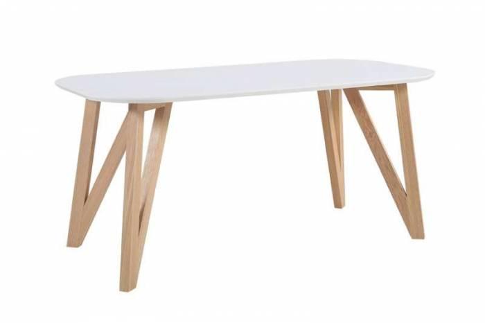 Masă de dining Nordik 180x90x76 cm, lemn de stejar, alb