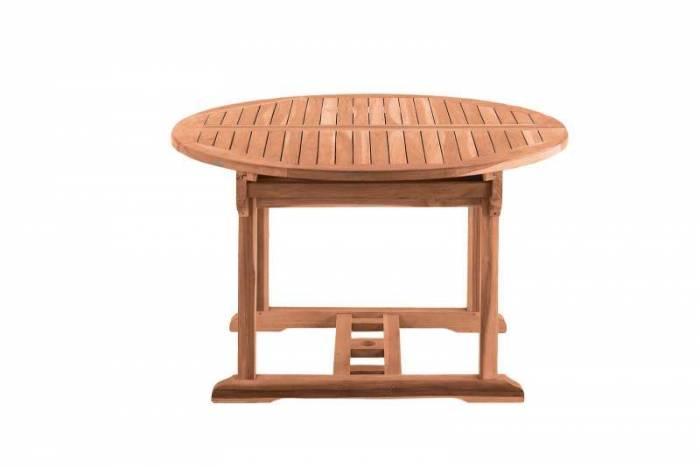 Masă ovală extensibilă de grădină Tiana, 75x120x120 cm, lemn, bej