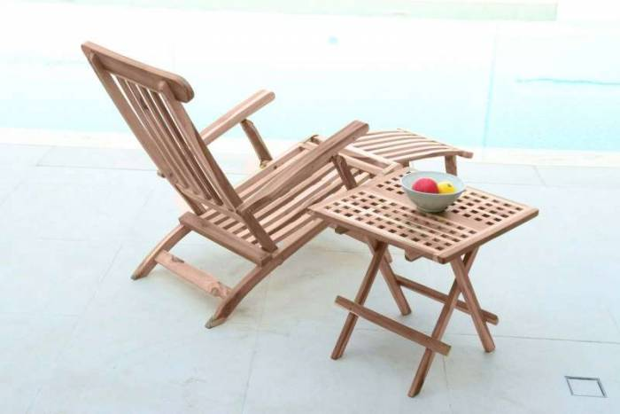 Masă pliabilă de grădină Luciano, 50x50x50 cm, lemn, bej