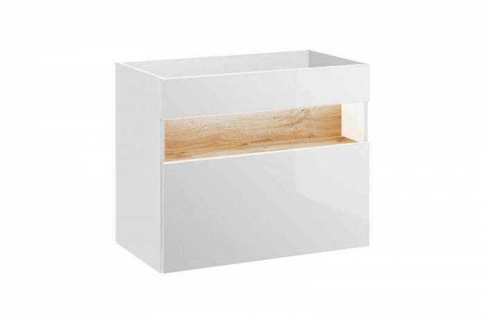 Mască lavoar cu sertar și LED Bahama White 80x68x46 cm, pal/ mdf, alb/ maro
